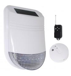 Zusätzliche HY solarbetriebene Sirene mit Rauch & Wärme Alarm