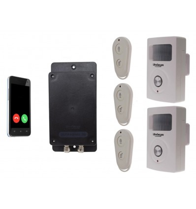 UltraDIAL 3G GSM Alarmgerät mit 2 x BT PIR & 3 x Fernbedienungen