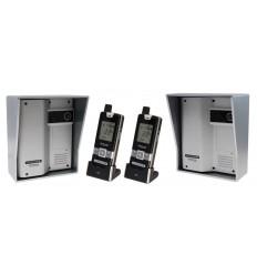 2 X ULTRACOM 2 - 600 m Funk-Gegensprechanlage mit silber Außengehäuse (ohne Tastatur) & 2 X Handgerät