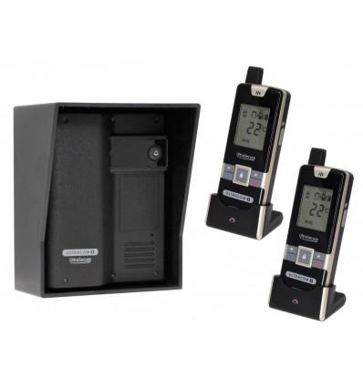 ULTRACOM 2 - 600 m Funk-Gegensprechanlage schwarz mit schwarzem Außengehäuse (ohne Tastatur) & 2 X Handgerät