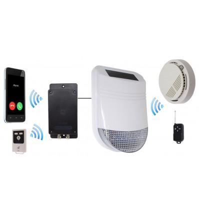 HY solarbetriebene Sirene mit Rauchalarm und GSM Wahlgerät